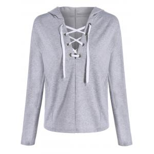Plunging Lace-Up Hoodie