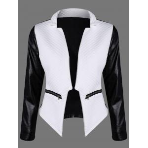 Color Block Faux Leather Jacket - White And Black - S
