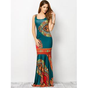 Bohemian Tribe Print Long Fitted Mermaid Dress - LAKE BLUE S