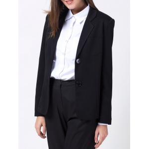 Lapel Collar Back Slit Blazer - Black - L