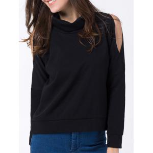 Cold Shoulder Turtle Neck Sweatshirt