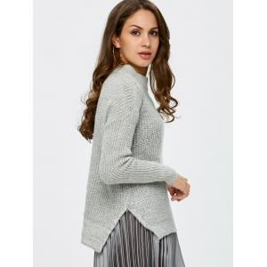Mock Neck High Low Chunky Knit Sweater - GRAY ONE SIZE