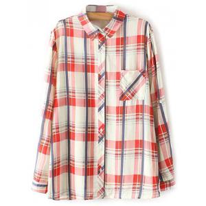 Button Up Plaid Pocket Shirt - Red - L