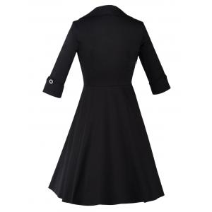 Long Sleeve Fit and Flare Vintage Dress - BLACK 3XL