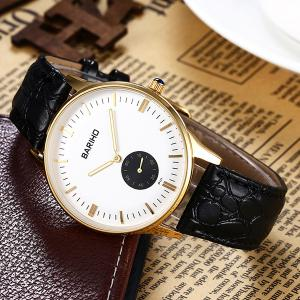 Quartz Artificial Leather Vintage Watch - BLACK