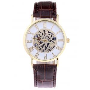 Faux Leather Gear Analog Watch