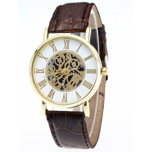 Faux Leather Gear Analog Watch -