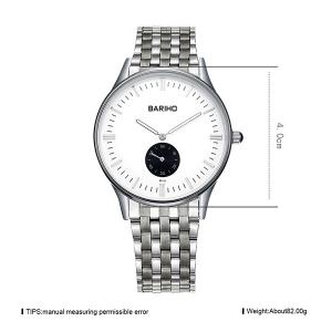 Stainless Steel Band Business Quartz Watch - SILVER