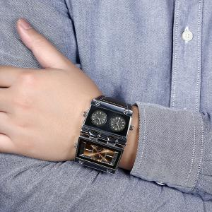 Quartz Watch with PU Leather Watchband - COFFEE