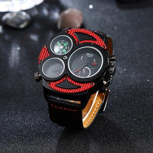 Big Dial Watch with PU Leather Watchband - RED