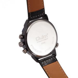 Big Dial Watch with PU Leather Watchband - BLACK