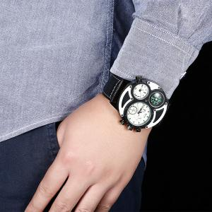 Big Dial Watch with PU Leather Watchband - WHITE