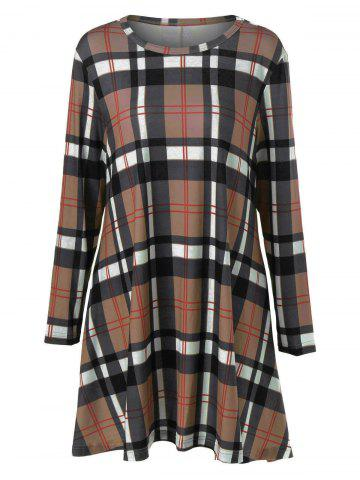 Fashion Plus Size Plaid Long Sleeves A-Line Dress LIGHT COFFEE 4XL