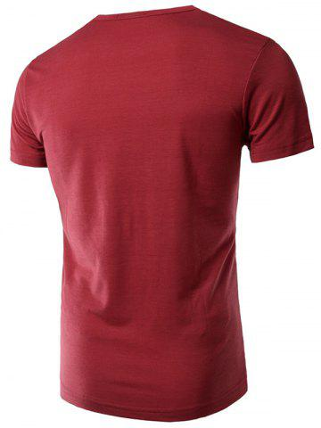 Shops Slimming Trendy Round Neck Letter Print Short Sleeve Polyester T-shirt For Men - 2XL WINE RED Mobile
