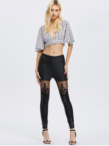 Outfits Lace See-Through Bodycon Leggings - ONE SIZE BLACK Mobile