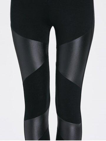 Trendy Bodycon Faux Leather Leggings - ONE SIZE BLACK Mobile