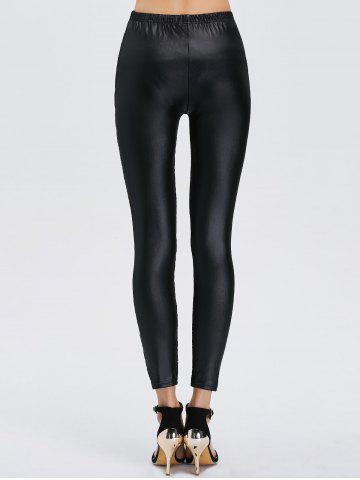 Trendy See-Through Lace Panel Bodycon Leggings - ONE SIZE BLACK Mobile