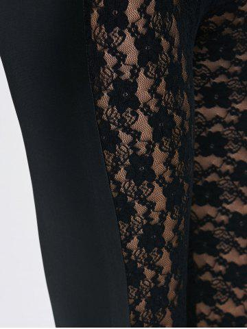 Unique See-Through Lace Panel Bodycon Leggings - ONE SIZE BLACK Mobile