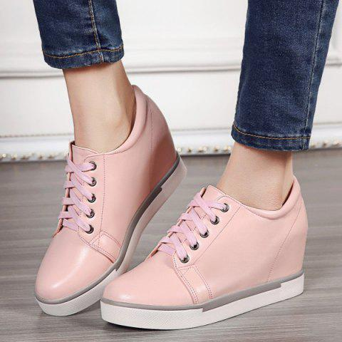 Fashion Hidden Wedge PU Leather Athletic Shoes - 39 PINK Mobile