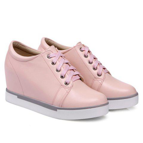 Shops Hidden Wedge PU Leather Athletic Shoes - 39 PINK Mobile