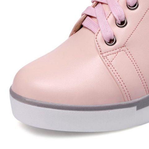 Trendy Hidden Wedge PU Leather Athletic Shoes - 39 PINK Mobile