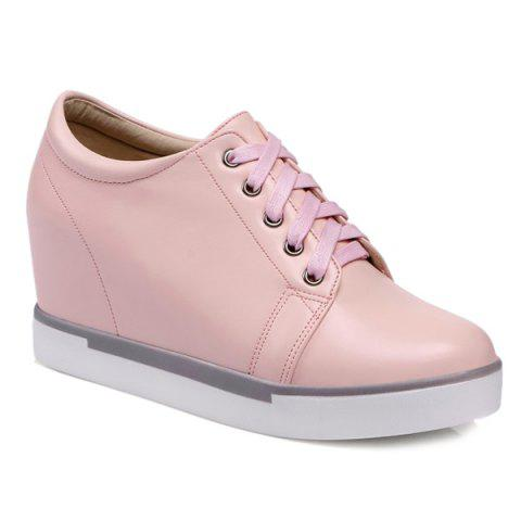 Buy Hidden Wedge PU Leather Athletic Shoes - 39 PINK Mobile