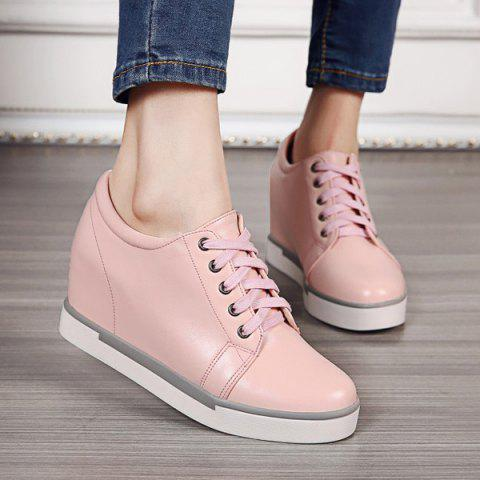 Hot Hidden Wedge PU Leather Athletic Shoes - 39 PINK Mobile