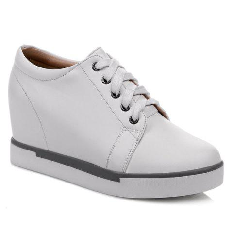 Buy Hidden Wedge PU Leather Athletic Shoes WHITE 37