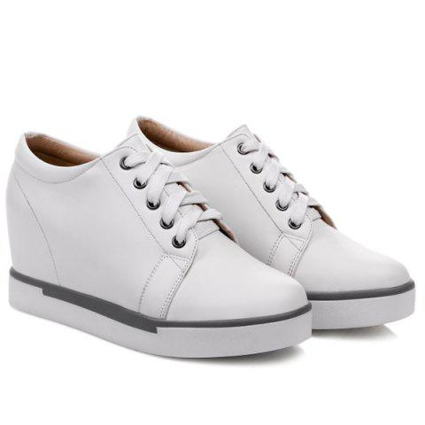 Outfits Hidden Wedge PU Leather Athletic Shoes - 38 WHITE Mobile