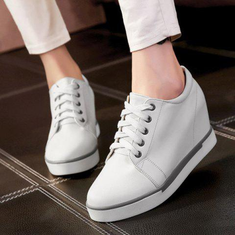 Best Hidden Wedge PU Leather Athletic Shoes - 38 WHITE Mobile