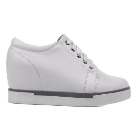 New Hidden Wedge PU Leather Athletic Shoes - 38 WHITE Mobile