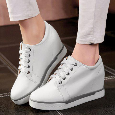 Cheap Hidden Wedge PU Leather Athletic Shoes - 38 WHITE Mobile
