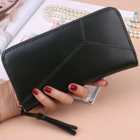 Fancy PU Leather Clutch Wallet BLACK