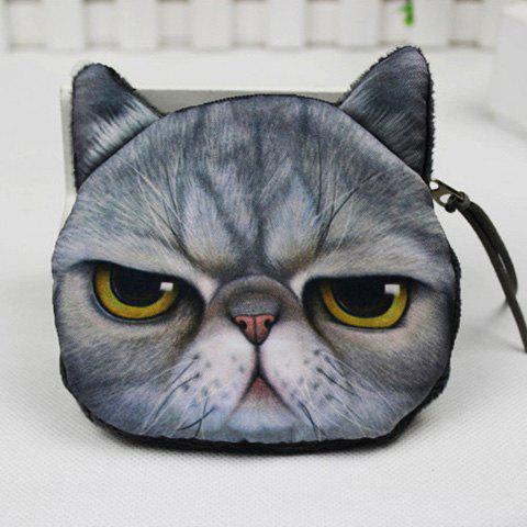Discount Plush Insert 3D Cat Print Coin Purse
