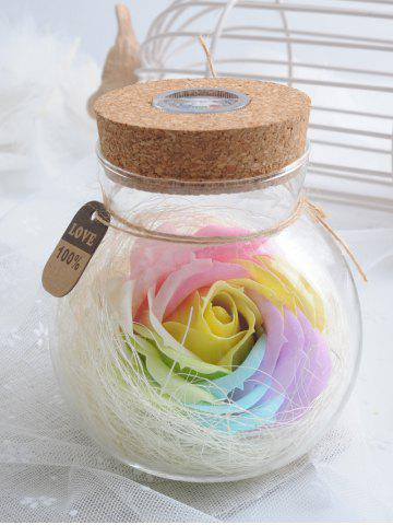 Affordable Colorful Light Rose Soap Festival Gift Wishing Bottle - BRIGHT YELLOW  Mobile