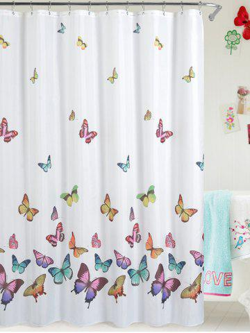 Butterfly Print Polyester Waterproof Bath Shower Curtain - White - W71 Inch * L79 Inch
