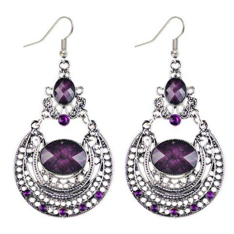 Online Oval Fake Gem Hollowed Antique Drop Earrings PURPLE