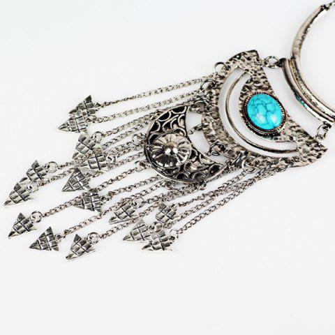 Buy Triangle Tassel Fake Gem Sweater Chain - SILVER  Mobile