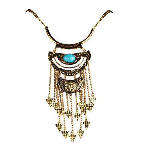 Triangle Tassel Fake Gem Sweater Chain - Golden