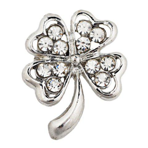 Chic Rhinestone Plant Hollowed Alloy Flower Brooch - #07  Mobile