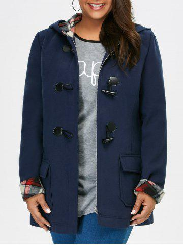 Outfits Plus Size Hooded Duffle Coat With Pocket
