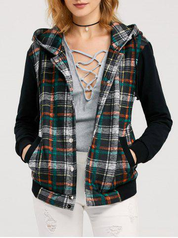 Hot Button Up Drawstring Plaid Hoodie