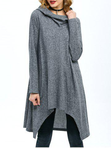 Outfits High Low Hem Hooded Coat GRAY M