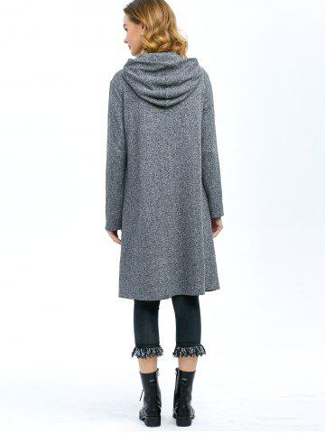 Cheap High Low Hem Hooded Coat - XL GRAY Mobile