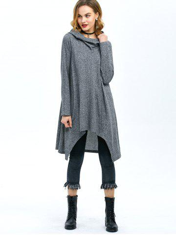 Shop High Low Hem Hooded Coat - XL GRAY Mobile