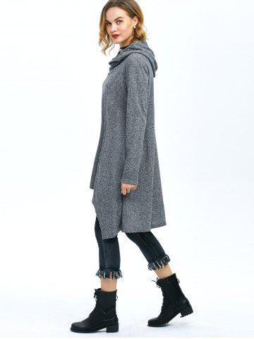 Fashion High Low Hem Hooded Coat - XL GRAY Mobile