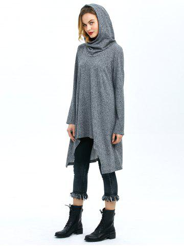 Unique High Low Hem Hooded Coat - XL GRAY Mobile