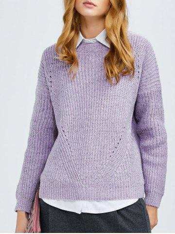 Fancy Crew Neck Ribbed Chunky Sweater