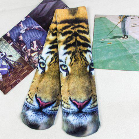 Tiger Head 3D Printed Crazy Socks - Light Brown