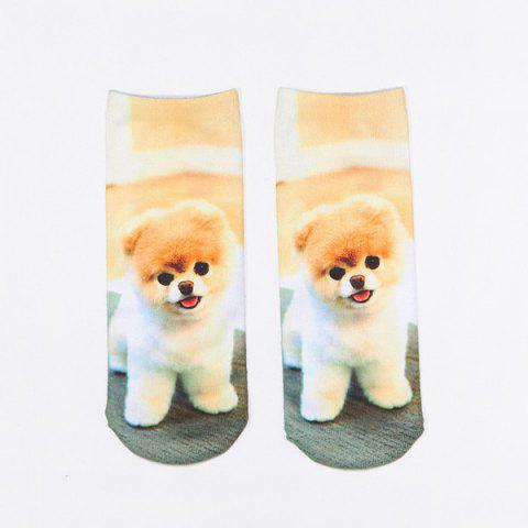 Little Pomeranian 3D Printed Crazy Socks - Light Brown